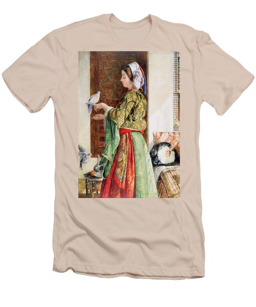 Girl With Two Caged Doves, Cairo, 1864 Men's T-Shirt (Slim Fit) by John Frederick Lewis