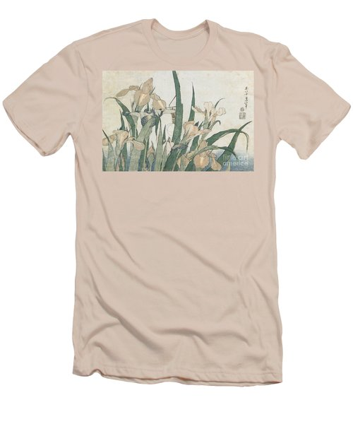 Iris Flowers And Grasshopper Men's T-Shirt (Slim Fit) by Hokusai
