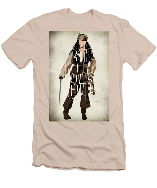 Jack Sparrow Inspired Pirates Of The Caribbean Typographic Poster Men's T-Shirt (Slim Fit) by Ayse Deniz