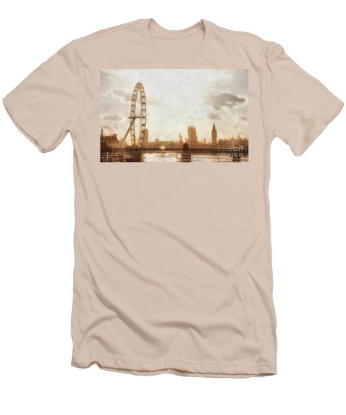 London Skyline At Dusk 01 Men's T-Shirt (Slim Fit) by Pixel  Chimp