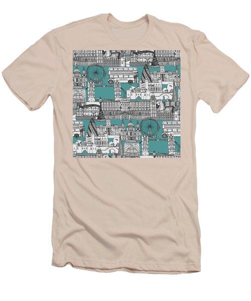 London Toile Blue Men's T-Shirt (Slim Fit) by Sharon Turner