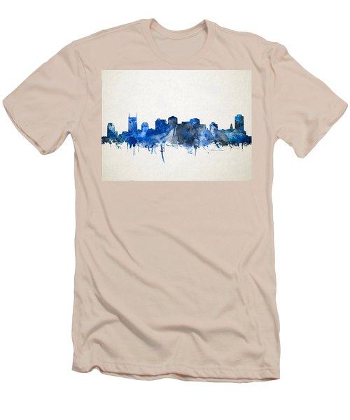 Nashville Skyline Watercolor 11 Men's T-Shirt (Slim Fit) by Bekim Art