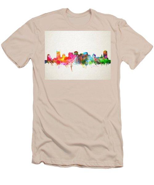 Nashville Skyline Watercolor 9 Men's T-Shirt (Slim Fit) by Bekim Art