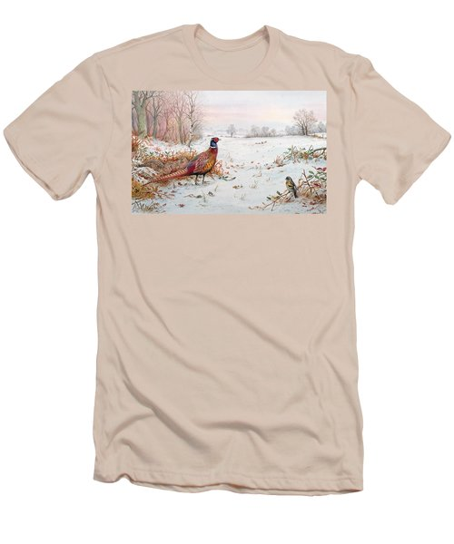 Pheasant And Bramblefinch In The Snow Men's T-Shirt (Slim Fit) by Carl Donner