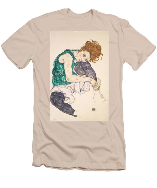 Seated Woman With Legs Drawn Up. Adele Herms Men's T-Shirt (Slim Fit) by Egon Schiele
