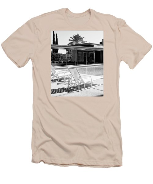 Sinatra Pool Bw Palm Springs Men's T-Shirt (Slim Fit) by William Dey
