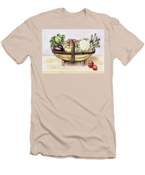 Still Life With A Trug Of Vegetables Men's T-Shirt (Slim Fit) by Alison Cooper
