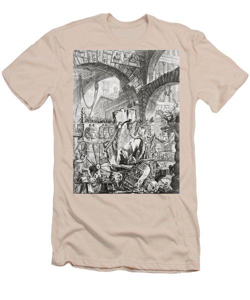 The Man On The Rack Plate II From Carceri D'invenzione Men's T-Shirt (Slim Fit) by Giovanni Battista Piranesi