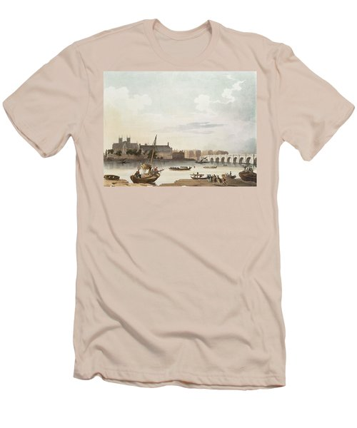 View Of Westminster And The Bridge Wc On Paper Men's T-Shirt (Slim Fit) by English School