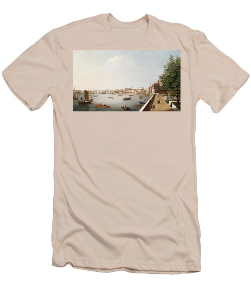 View Of The River Thames From The Adelphi Terrace  Men's T-Shirt (Slim Fit) by William James