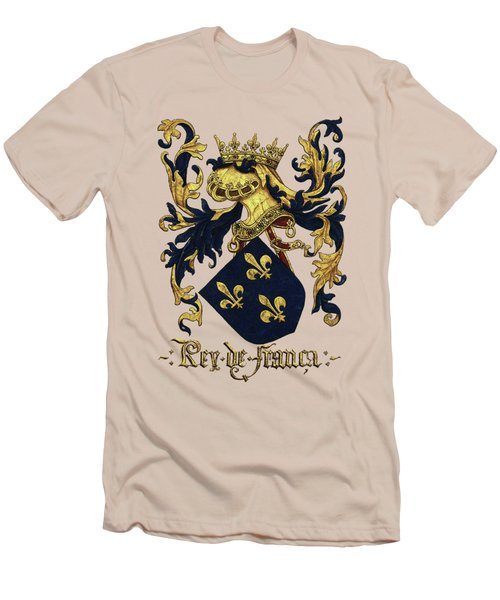 King Of France Coat Of Arms - Livro Do Armeiro-mor  Men's T-Shirt (Slim Fit) by Serge Averbukh