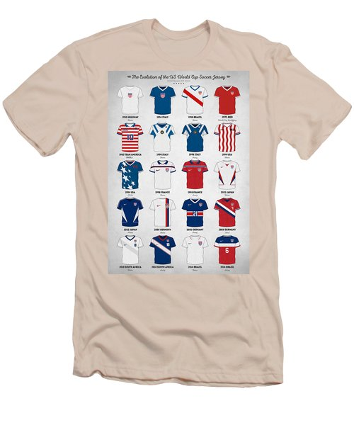 The Evolution Of The Us World Cup Soccer Jersey Men's T-Shirt (Slim Fit) by Taylan Apukovska