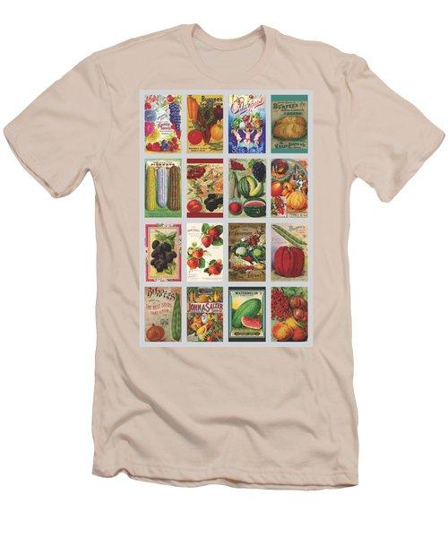 Vintage Farm Seed Packs Men's T-Shirt (Slim Fit) by Debbie Karnes