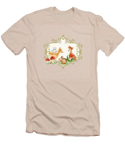 Woodland Fairytale - Animals Deer Owl Fox Bunny N Mushrooms Men's T-Shirt (Slim Fit) by Audrey Jeanne Roberts