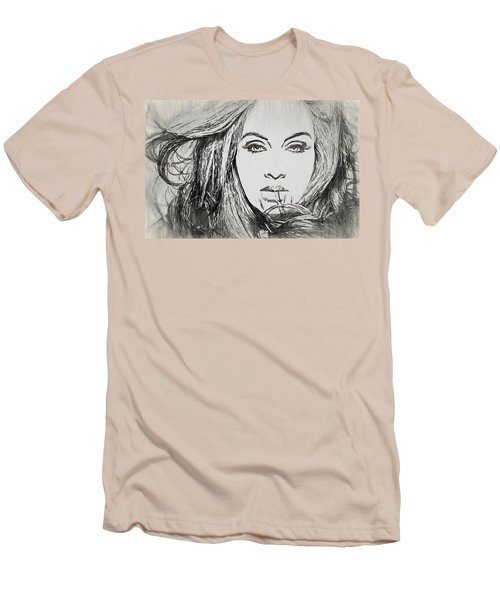 Adele Charcoal Sketch Men's T-Shirt (Slim Fit) by Dan Sproul