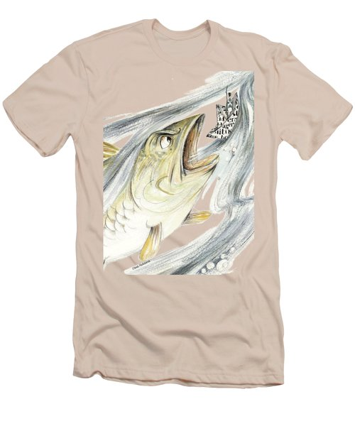 Angry Fish Ready To Swallow Tin Soldier's Paper Boat - Horizontal - Fairy Tale Illustration Fragment Men's T-Shirt (Slim Fit) by Elena Abdulaeva