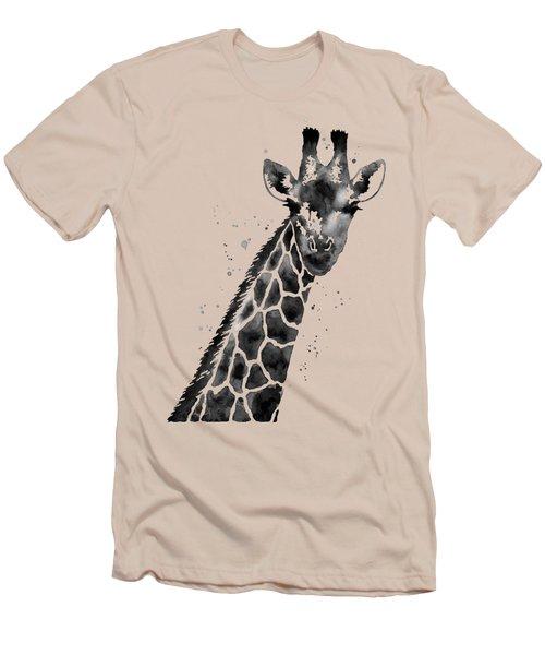 Giraffe In Black And White Men's T-Shirt (Slim Fit) by Hailey E Herrera