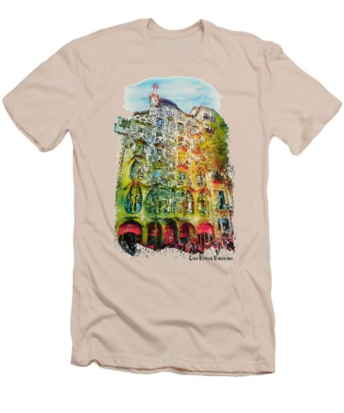 Casa Batllo Barcelona Men's T-Shirt (Slim Fit) by Marian Voicu