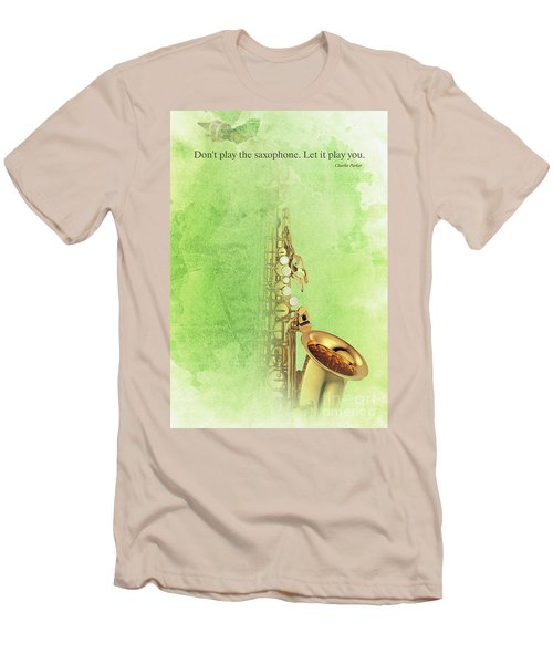Charlie Parker Saxophone Green Vintage Poster And Quote, Gift For Musicians Men's T-Shirt (Slim Fit) by Pablo Franchi