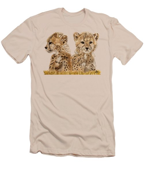 Cheetah Cubs Men's T-Shirt (Slim Fit) by Angeles M Pomata