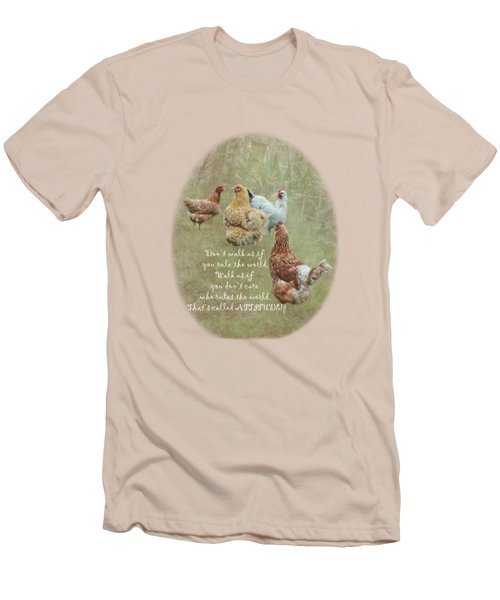 Chickens With Attitude On A Transparent Background Men's T-Shirt (Slim Fit) by Terri Waters
