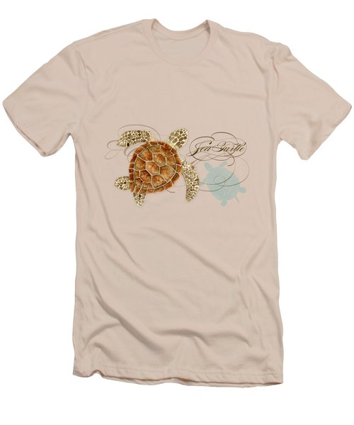 Coastal Waterways - Green Sea Turtle Rectangle 2 Men's T-Shirt (Slim Fit) by Audrey Jeanne Roberts
