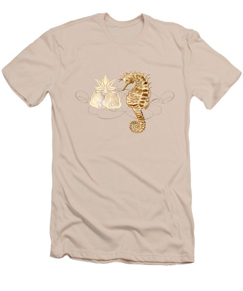 Coastal Waterways - Seahorse Rectangle 2 Men's T-Shirt (Slim Fit) by Audrey Jeanne Roberts