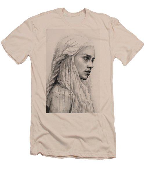 Daenerys Watercolor Portrait Men's T-Shirt (Slim Fit) by Olga Shvartsur