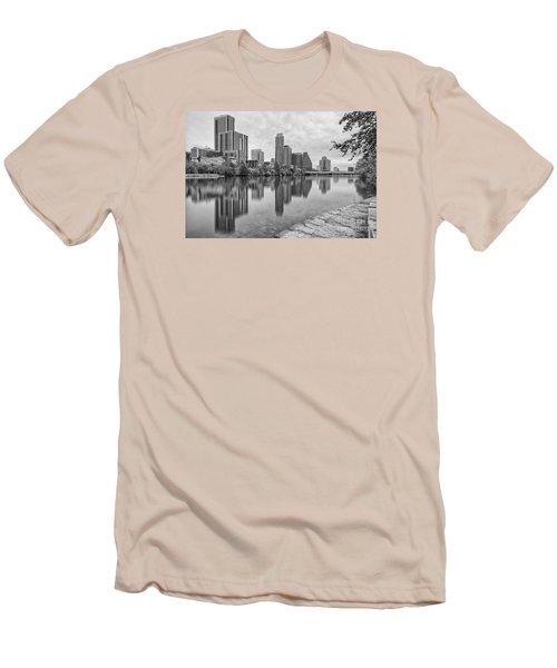 Downtown Austin In Black And White Across Lady Bird Lake - Colorado River Texas Hill Country Men's T-Shirt (Slim Fit) by Silvio Ligutti
