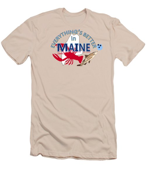 Everything's Better In Maine Men's T-Shirt (Slim Fit) by Pharris Art