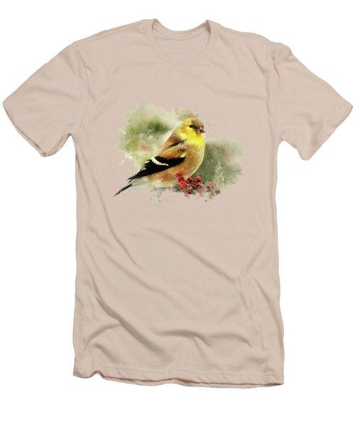 Goldfinch Watercolor Art Men's T-Shirt (Slim Fit) by Christina Rollo
