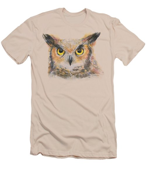 Great Horned Owl Watercolor Men's T-Shirt (Slim Fit) by Olga Shvartsur