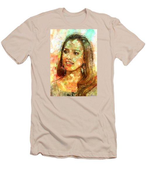 Jessica Alba Men's T-Shirt (Slim Fit) by Elena Kosvincheva