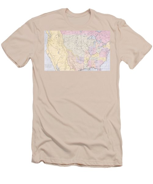 Map Showing The Localities Of The Indian Tribes Of The Us In 1833 Men's T-Shirt (Slim Fit) by Thomas L McKenney and James Hall