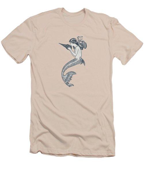 Mermaid - Nautical Design Men's T-Shirt (Slim Fit) by World Art Prints And Designs