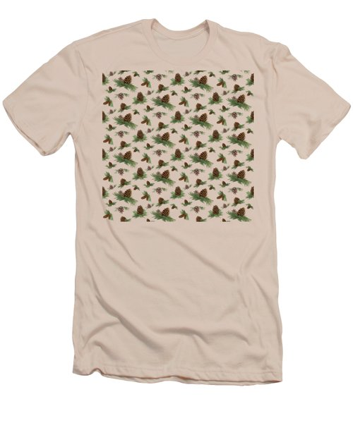 Mountain Lodge Cabin In The Forest - Home Decor Pine Cones Men's T-Shirt (Slim Fit) by Audrey Jeanne Roberts