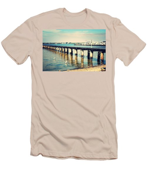 Old Fort Myers Pier With Ibises Men's T-Shirt (Slim Fit) by Carol Groenen
