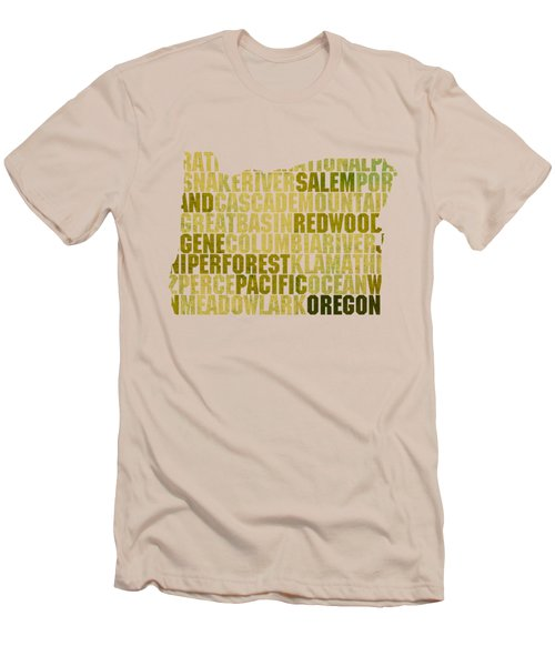 Oregon State Outline Word Map Men's T-Shirt (Slim Fit) by Design Turnpike