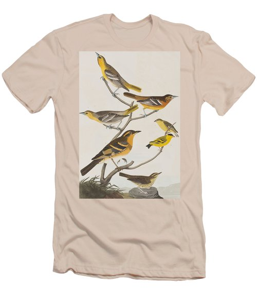 Orioles Thrushes And Goldfinches Men's T-Shirt (Slim Fit) by John James Audubon