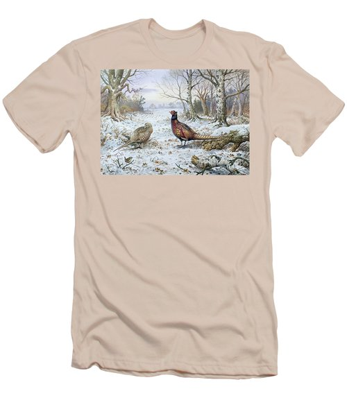 Pair Of Pheasants With A Wren Men's T-Shirt (Slim Fit) by Carl Donner