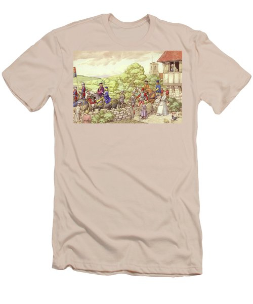 Prince Edward Riding From Ludlow To London Men's T-Shirt (Slim Fit) by Pat Nicolle