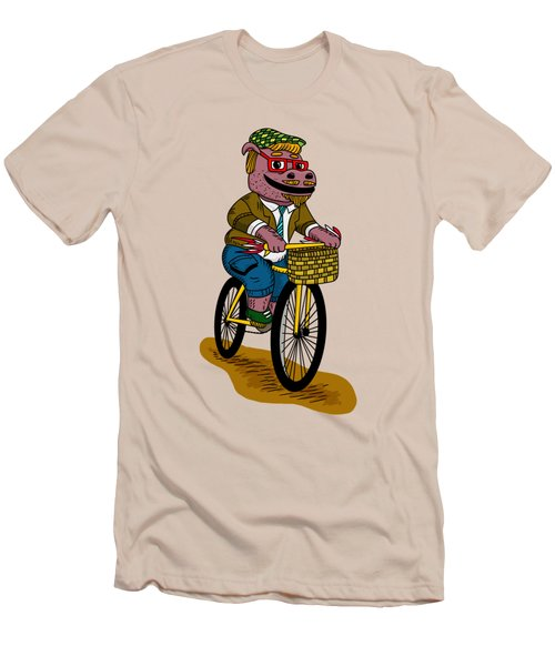 Pun Intended - Hipsterpotamus - Hipsters- Funny Design Men's T-Shirt (Slim Fit) by Paul Telling