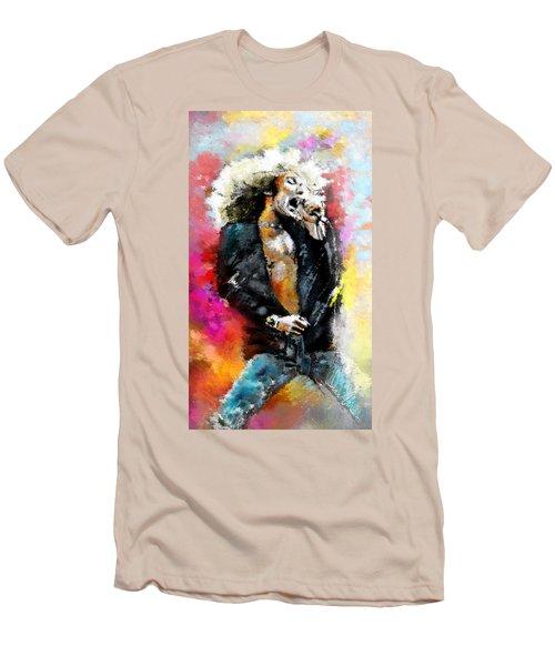 Robert Plant 03 Men's T-Shirt (Slim Fit) by Miki De Goodaboom