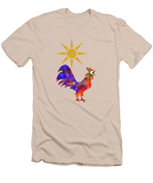 Rooster Pattern Men's T-Shirt (Slim Fit) by Christina Rollo