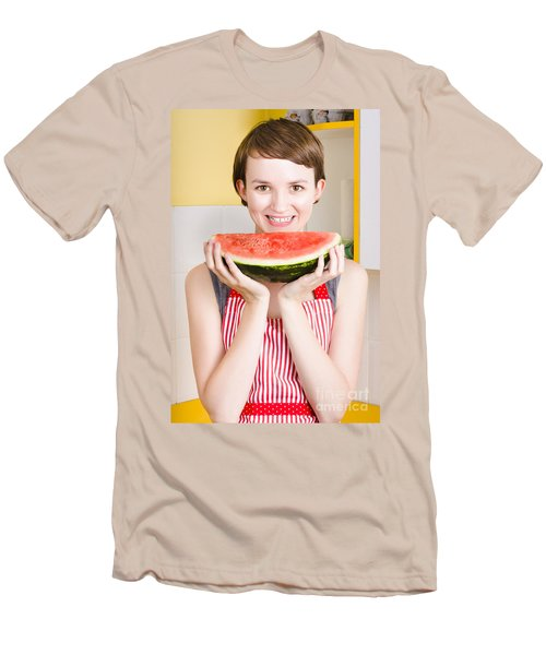 Smiling Young Woman Eating Fresh Fruit Watermelon Men's T-Shirt (Slim Fit) by Jorgo Photography - Wall Art Gallery