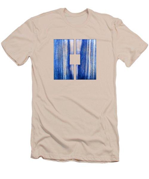 Split Square Blue Men's T-Shirt (Slim Fit) by YoPedro