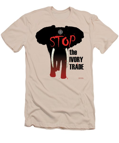 Stop The Ivory Trade Men's T-Shirt (Slim Fit) by Galen Hazelhofer