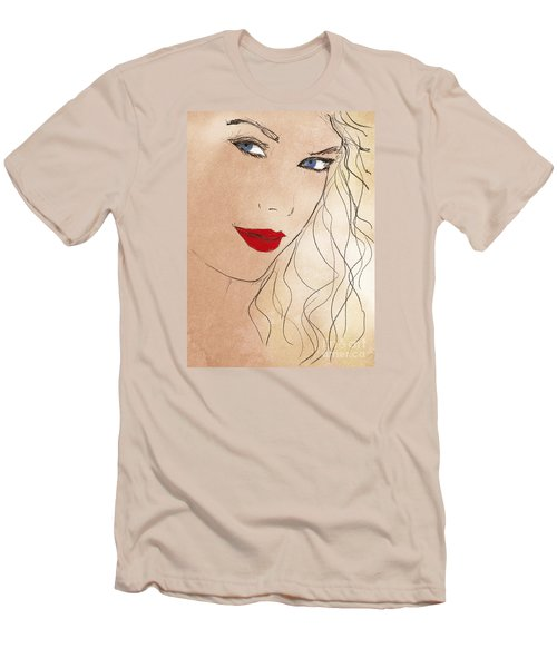 Taylor Red Lips Men's T-Shirt (Slim Fit) by Pablo Franchi