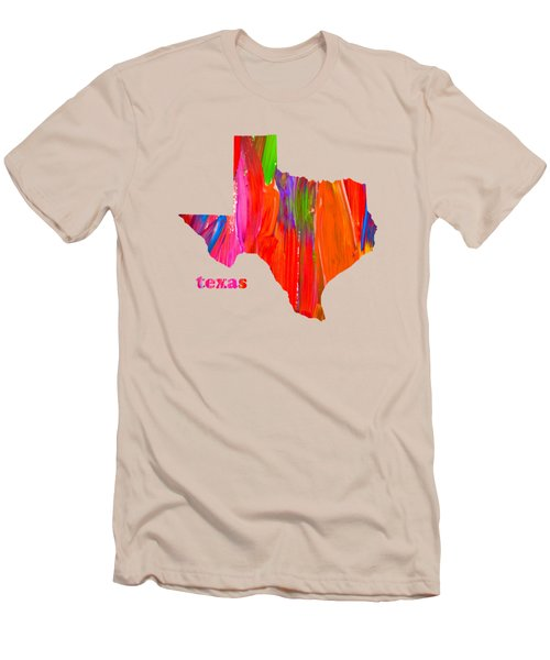 Vibrant Colorful Texas State Map Painting Men's T-Shirt (Slim Fit) by Design Turnpike