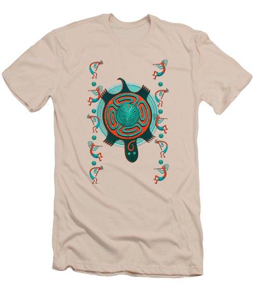 Visitors Anasazi 3d Folk Art Men's T-Shirt (Slim Fit) by Sharon and Renee Lozen